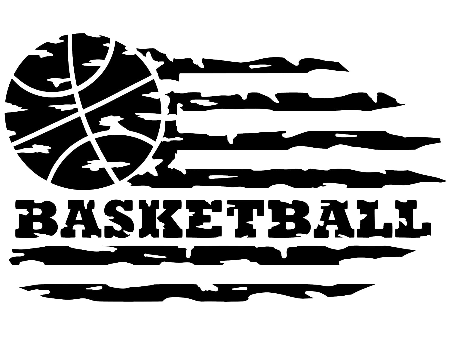Custom Distressed Flag Basketball Vinyl Decal Laptops Personalized B-ball Coach Gift Car Windows Grunge Hoops Bumper Sticker for Tumblers