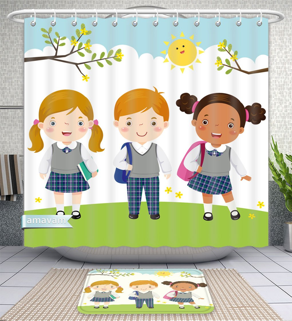 Unique Custom Bathroom 2-Piece Set Illustration Of Three Kids In School Uniform Going To School Shower Curtains And Bath Mats Set, 71''Wx71''H & 31''Wx20''H by Amavam (Image #1)