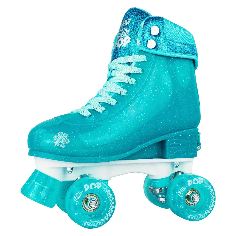 Crazy Skates Glitter POP Adjustable Roller Skates for Girls and Boys   Size Adjustable Quad Skates That Fit 4 Shoe Sizes   Teal (Sizes jr12-2)