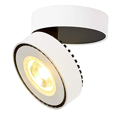 super popular af549 c5b92 TOPMO Indoor 12W LED Spotlight Adjustable Ceiling Light/Surface Mounted  spotlights/3000K Warm white/10X6CM/Wall Lamp or Ceiling Spotlight  (White-Warm ...