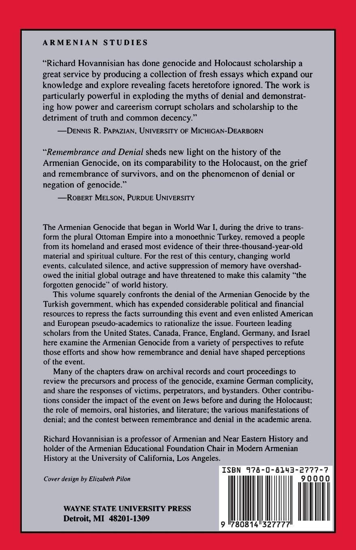 Remembrance And Denial The Case Of Armenian Genocide Studie Hovannisian Richard G Sarafian Ara Miller Donald E Marashlian Dr Levon Astourian Stephen Markusen Eric Kaiser Hilmar Shirin Essay