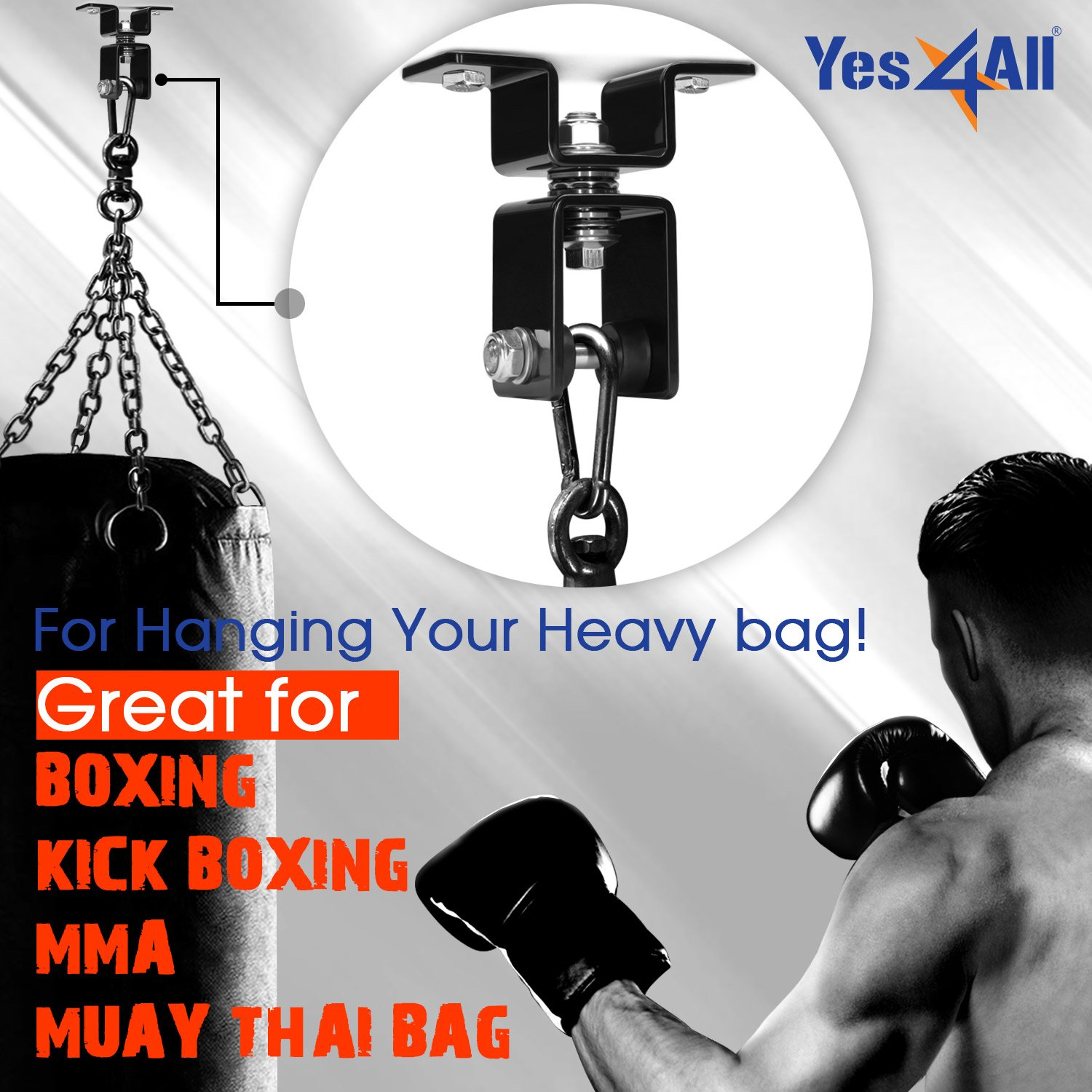 Yes4All Premium Wood Beam Heavy Bag Hanger to Mount Punching Bag 360 Degree Swivel and Easy to Install