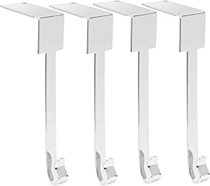 Rorain 2020 New Set of 4 Christmas Stocking Holder for Mantel, Non Slip Safety Fireplace Hanger Grip, Xmas Stockings Hanging Hooks Without Damage Mantel Clip Hooks for Stockings Sliver