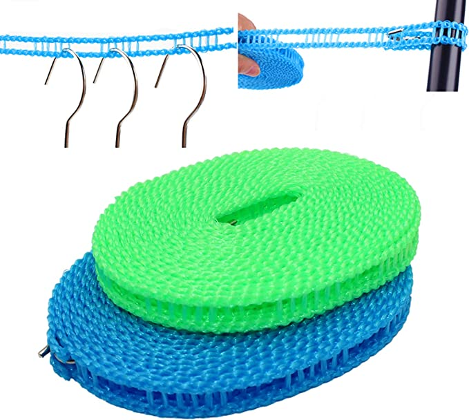 Adjustable Travel Clothesline Elastic Portable Clothes Drying Rope with 12pcs Clothespins and 10 Pack Bamboo Clothespins for Travel Camping Outdoor and Indoor Laundry Clothes Drying Line Purple