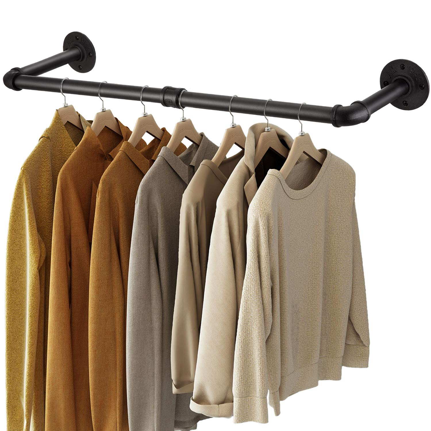 Greenstell Clothes Rack, 36in Industrial Pipe Wall Mounted Garment Rack, Space-Saving Hanging Clothes Rack, Heavy Duty Detachable Garment Bar, Multi-Purpose Hanging Rod for Closet Storage 2 Base (1 Pack)