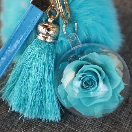 LUOEM Porte Cl/é Pompon Boule Fourrure Lapin avec Glands et Pr/éserv/é Rose Fleur Violet Cadeau Saint Valentin Femme