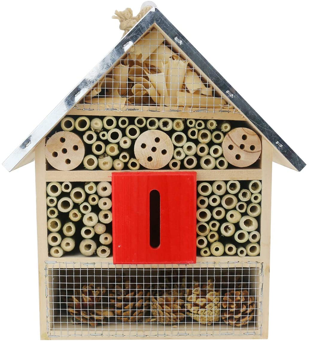 Sunnygalde Large Insect House Hand-Made Natural Wooden Insect House Garden Bug Hotel Perfect Home for Ladybugs/Mason Bees/Butterflies Live (11.8