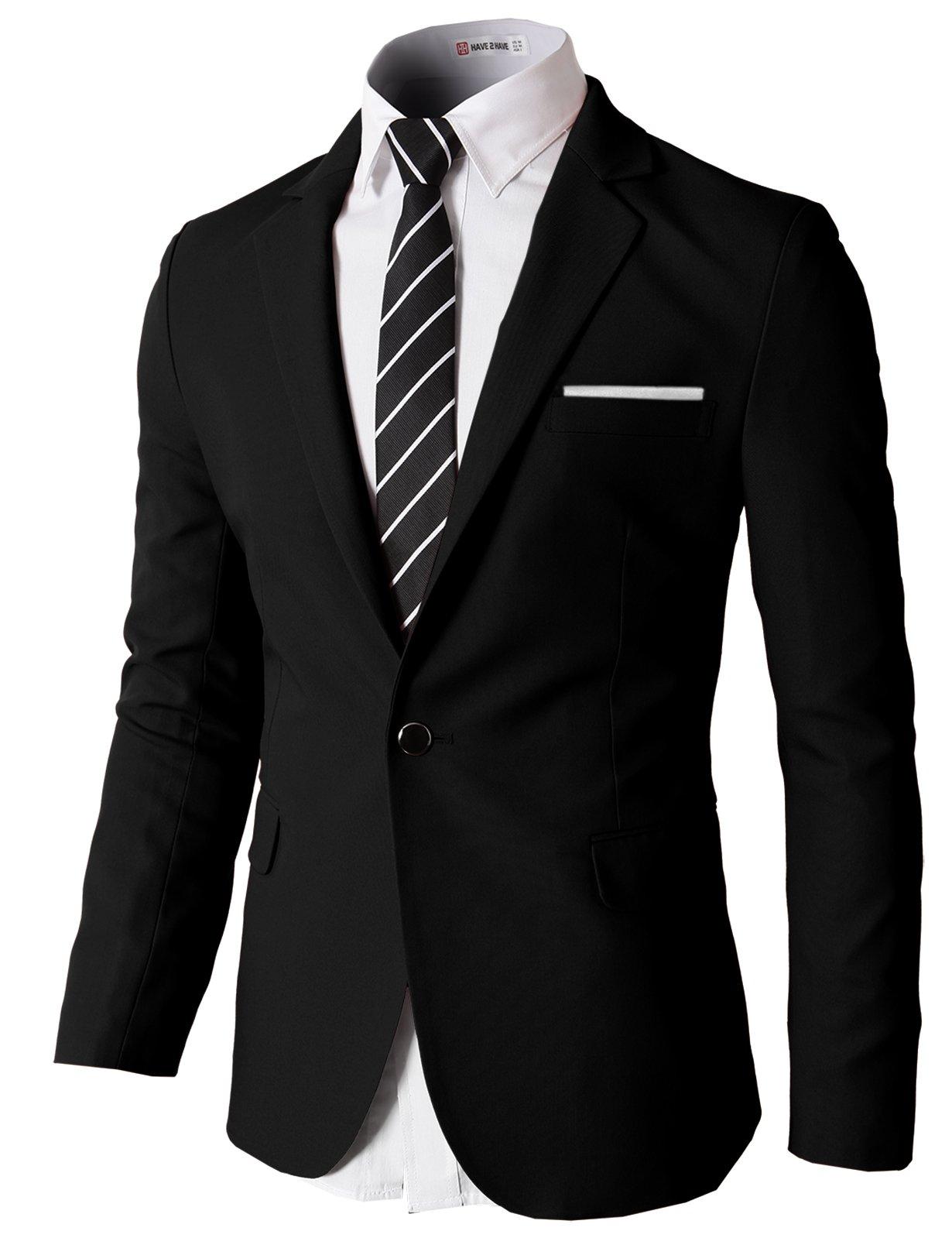 H2H Mens Slim Fit Single One Button Blazer Jackets with Pocketchief Trim BLACK US L/Asia XL (KMOBL046)