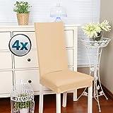 Fundas para sillas Pack de 4 Fundas sillas Comedor Fundas elásticas, Cubiertas para sillas,bielástico Extraíble Funda, Muy fácil de Limpiar, Duradera (Paquete de 4, Marfil)