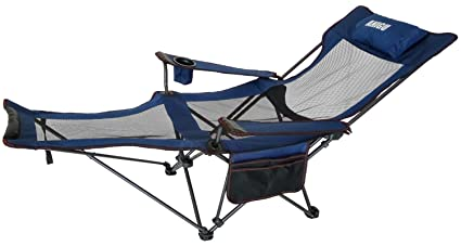 ANIGU Mesh Lounge Reclining Folding Camp Chair With Footrest (Blue)