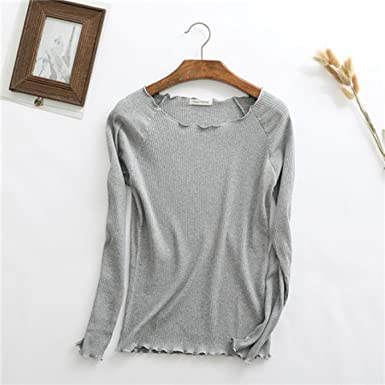 Cotton Spring Sweet Ruffles O Neck Knitted Long Sleeve T-Shirt Basic Tee Casual White