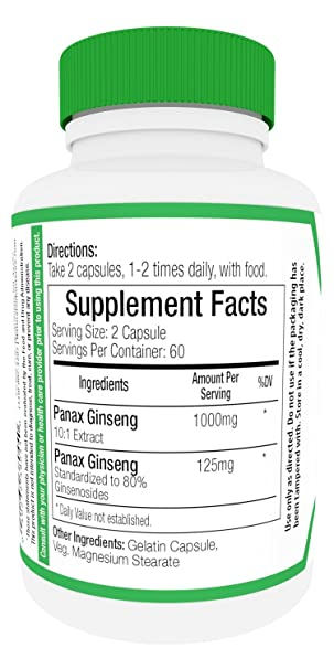 Amazon Ginseng Fusion 1125mg 120 Capsules Strongest W 80 Ginsenosides Energy Wellness Performance Vitality For Men Women Health