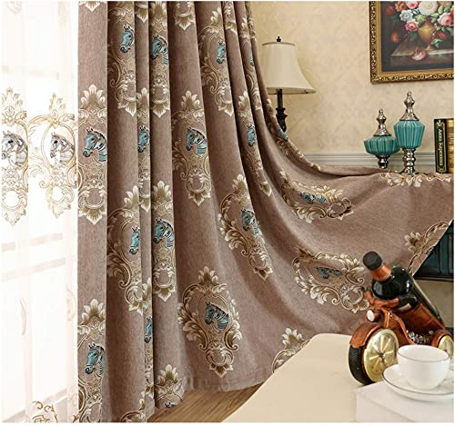 WPKIRA Grommet Room Darkening Curtains Thermal Insulated Curtain for Bedroom Cute Horse Jacquard Blackout Curtain Window Drape for Living Room 1 Panel W54 x L63 inches