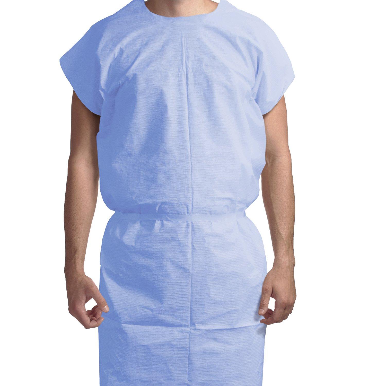 Dynarex Exam Gown 3 ply T/P/T Universal (Blue) 50/cs