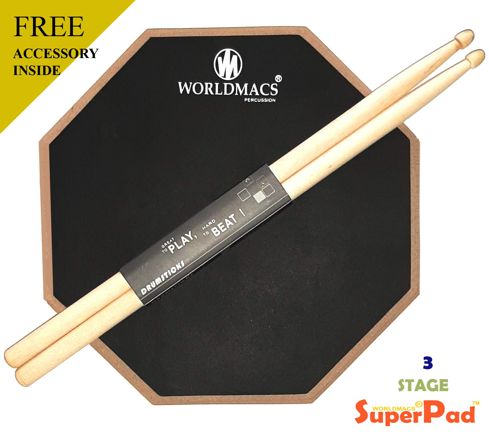 worldmacs 12'' Inches 2 Sided Drum Practice Pad + Bag + Drumsticks product image