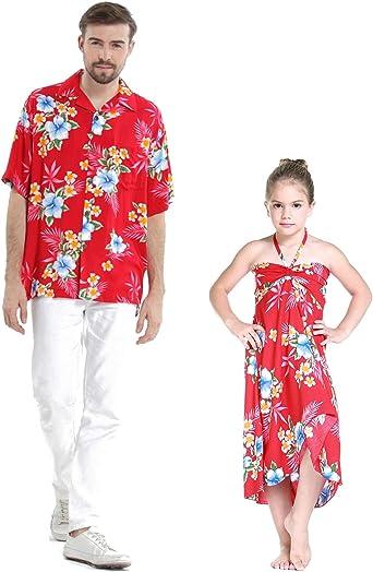 Padre e Hija a Juego Vestido de Camisa Hawaiana Luau Cruise Outfit Hibisco Rojo