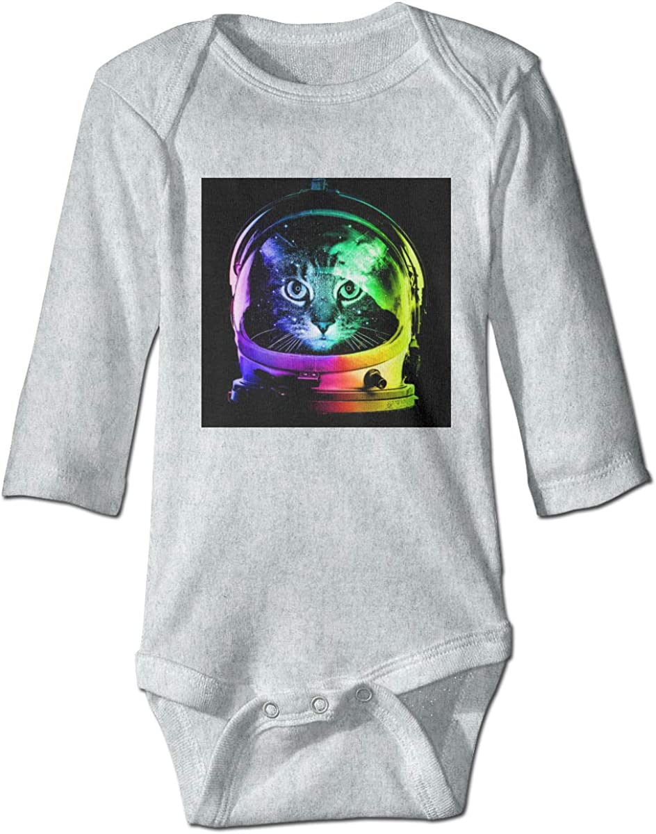 Marsherun Newborn Baby Toddler Rainbow Astronaut Space Cat Long-Sleeve Bodysuits Playsuits
