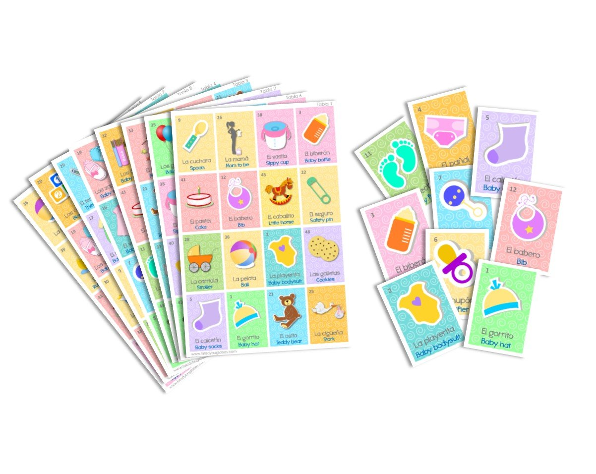 Juego de Lotería para Baby Shower. Bingo for Baby Shower. Inglés y Español. English and Spanish version.(16 boards) by La Ladybug Ideas