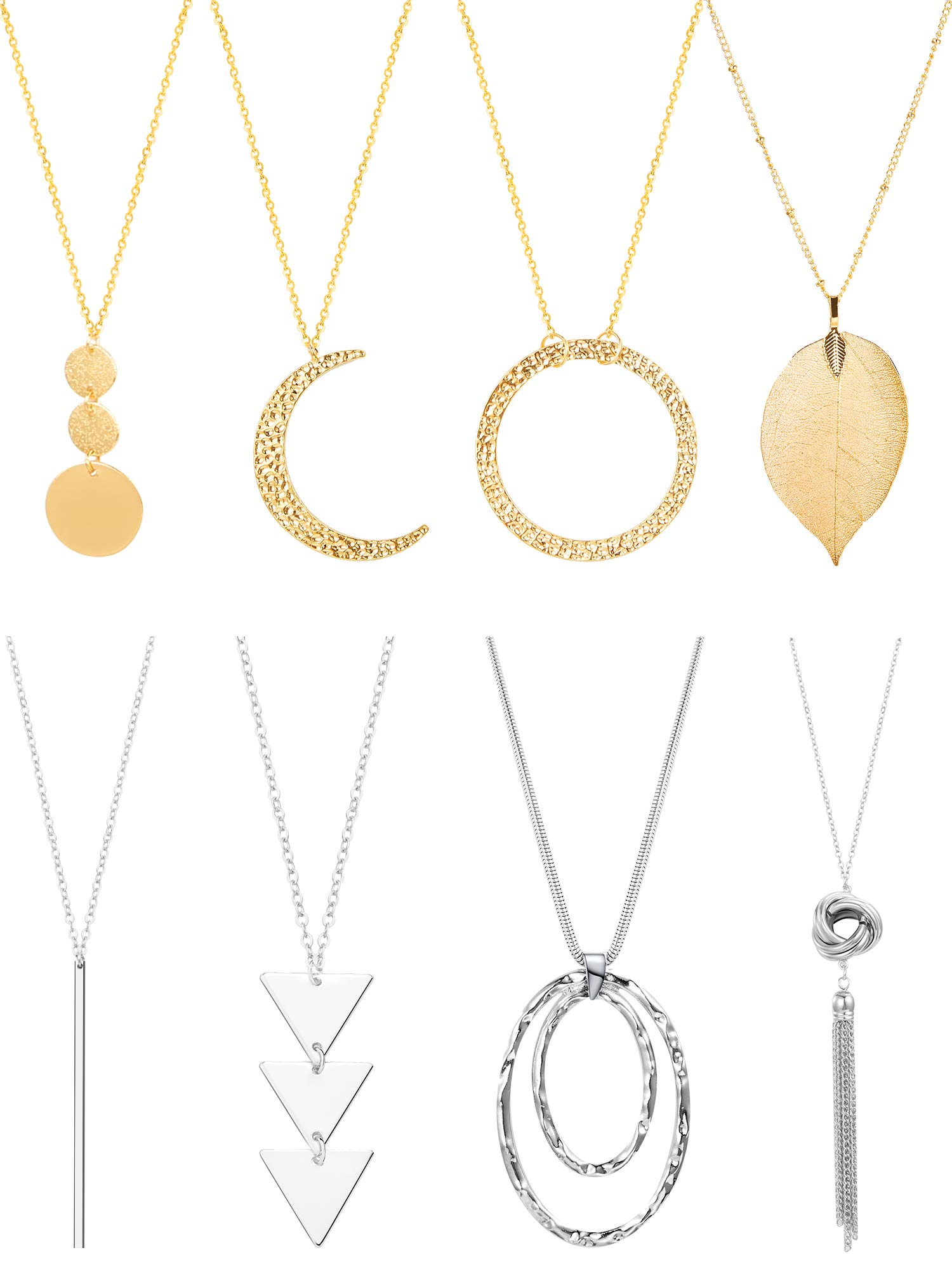 8 Pieces Women Y Layer Long Pendant Necklace Set Simple Bar Tassel Necklace Chain by Tatuo