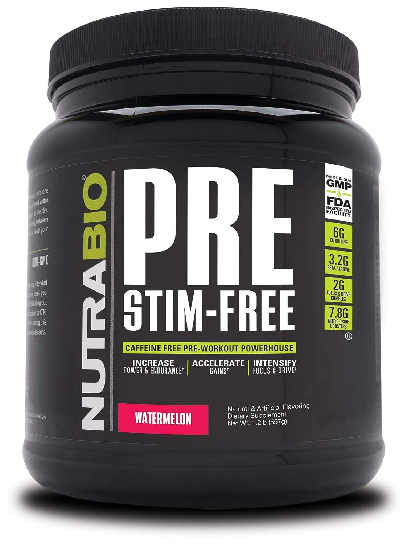 NutraBio PRE Stim Free – Caffeine Free Pre Workout Watermelon