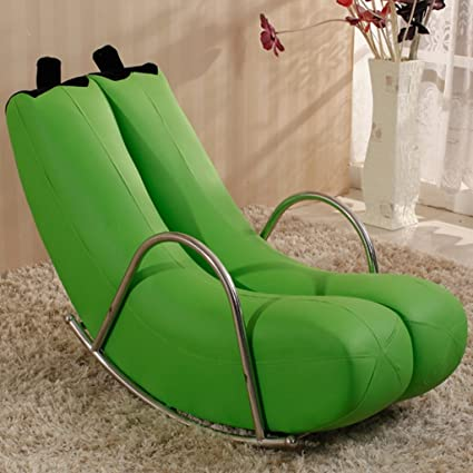 Merveilleux GJM Shop Single Lazy Sofa Banana Lounge Chair Rocking Chair Lovely PU  Recliners Blue/Green