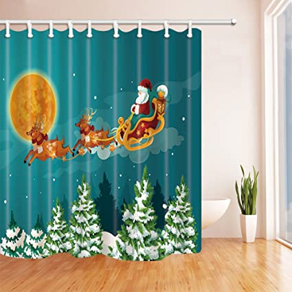 NYMB Christmas Decor Santa Claus In Sleigh With Reindeer Over Pine Forest Snow