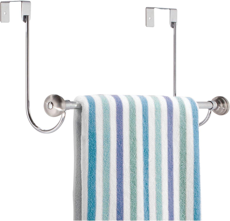 "iDesign York Metal Over the Shower Door Towel Bar, Rack for Master, Guest, Kids' Bathroom, 6"" x 18"" x 8.5"" - Chrome"