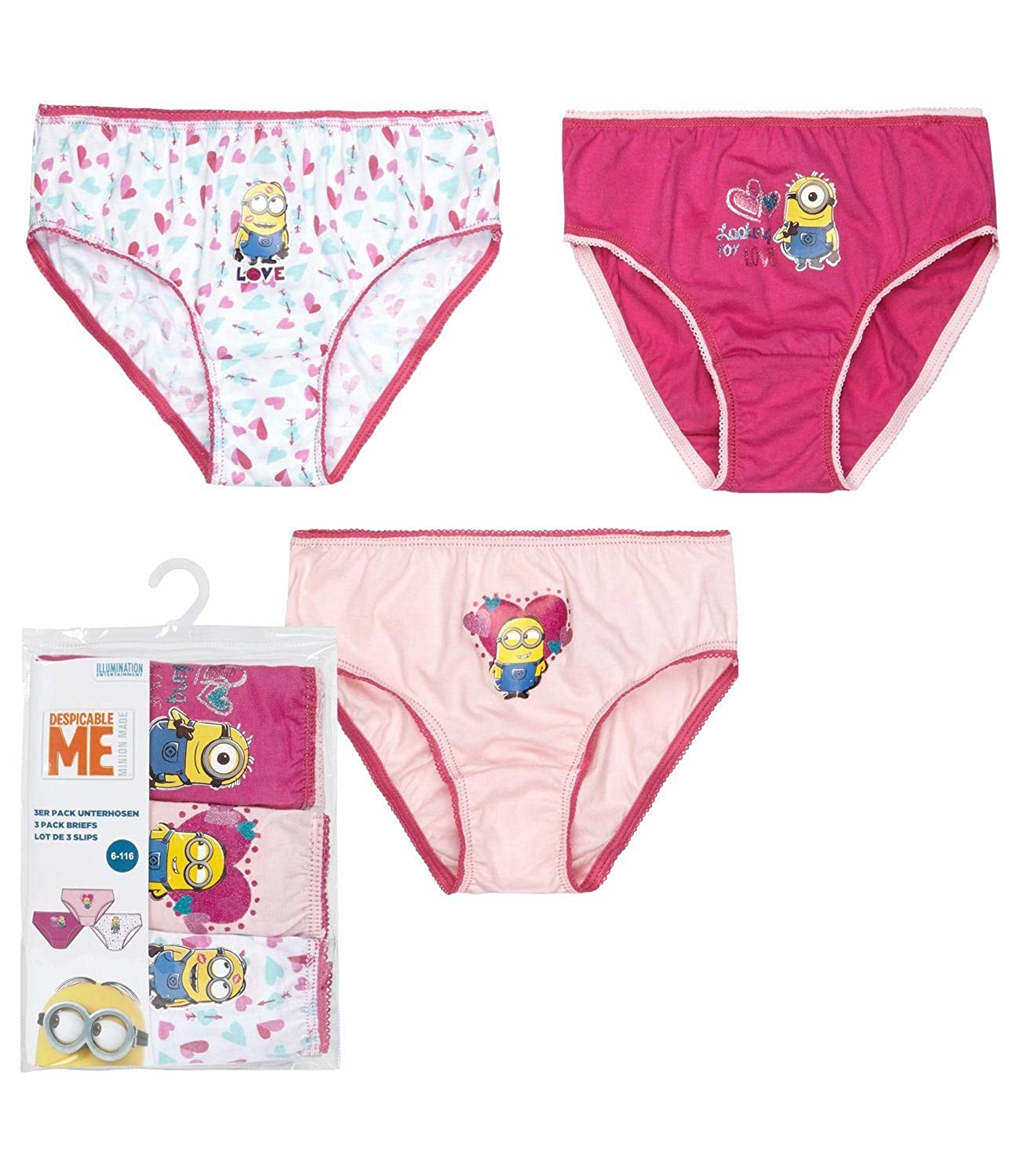 Minions Despicable Me Girls 3 pack brief - fuchsia
