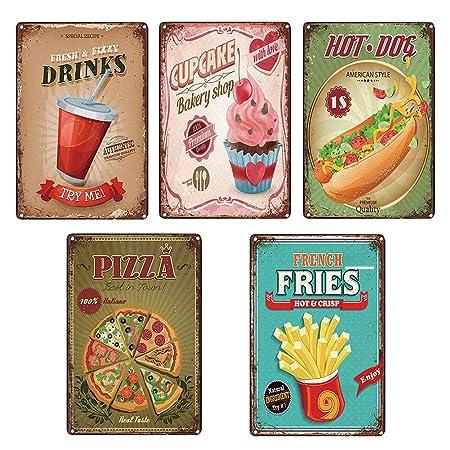 Vintage Metal estaño carteles hogar cocina decoración comida ...