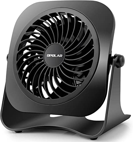 Portable Fan Battery Electric Dual Power Sources Black 10 in 2 Speeds Head Tilts