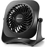 ordenador rotaci/ón de 360/° Ventilador mini USB ultrasilencioso para escritorio color negro 10,16 cm