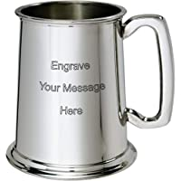 Wentworth Pewter - 1 Pint Pewter Tankard Engraved Free - Boxed Wedding, Birthday, Retirement, Sports Trophy, Dad Gift