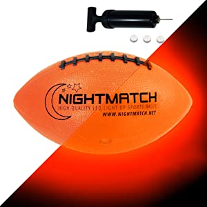 NIGHTMATCH Light Up LED Football - Official Size 6 - Extra Pump and Batteries - Perfect Glow in The Dark American Football with Spare Batteries - Waterproof Glow Football with Two LEDs