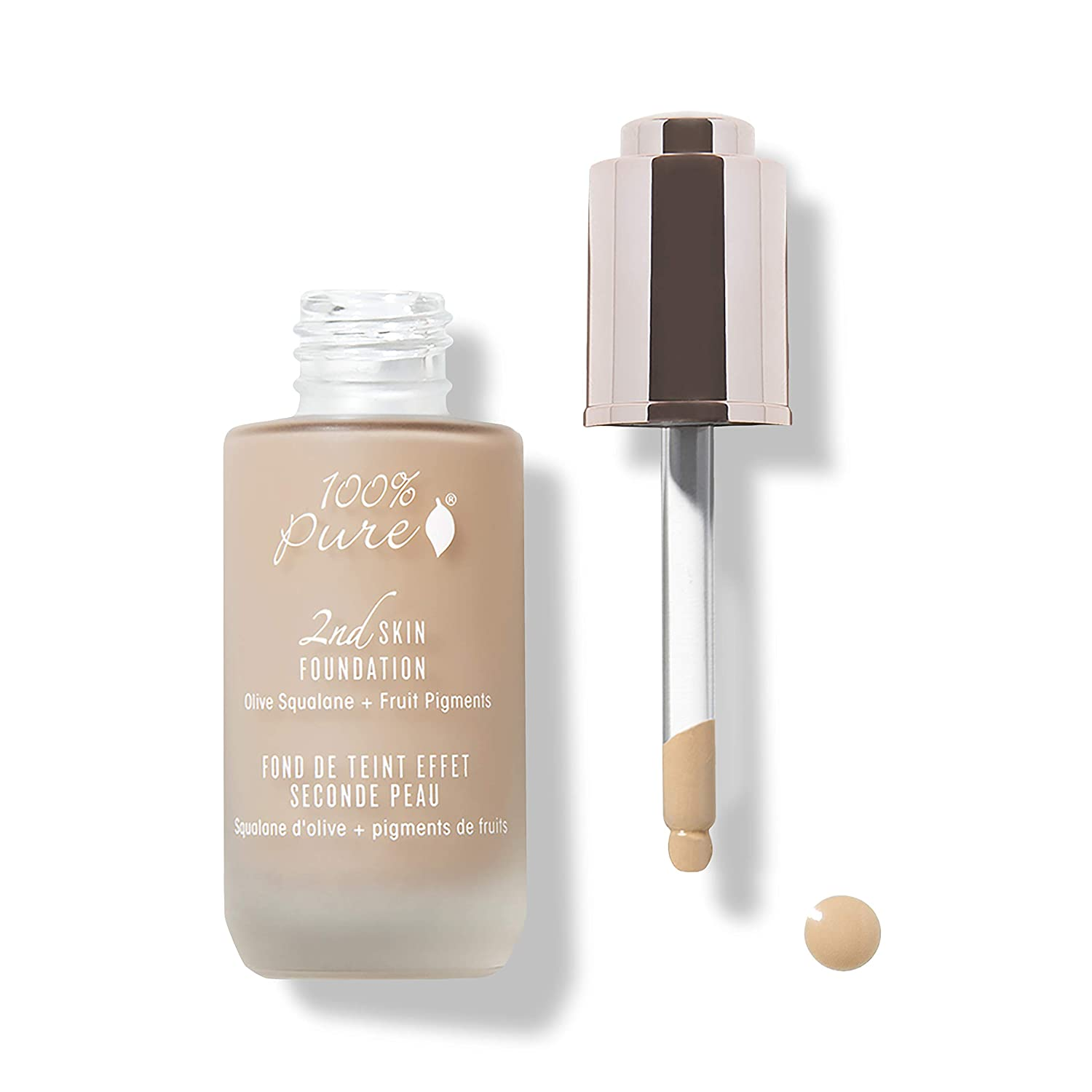 100% PURE 2nd Skin Foundation, Shade 4, Full Coverage, Lightweight, Blendable Formula, Satin Finish, Absorbs Oil, Anti-Aging, Natural, Vegan Makeup (Warm w/Olive Undertone) - 1.18 Fl Oz
