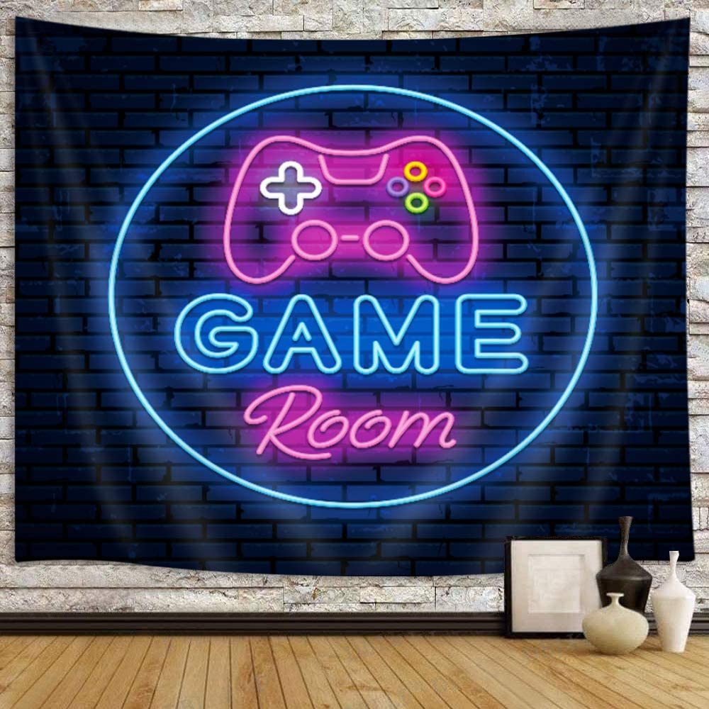 Game Tapestry for Men, Cool Neon Gaming Tapestry Wall Hanging for Boys Bedroom, Black Gaming Accessories for Gamer Room Decor Blacklight Posters College Dorm Home Blanket (71 W X 60 H)