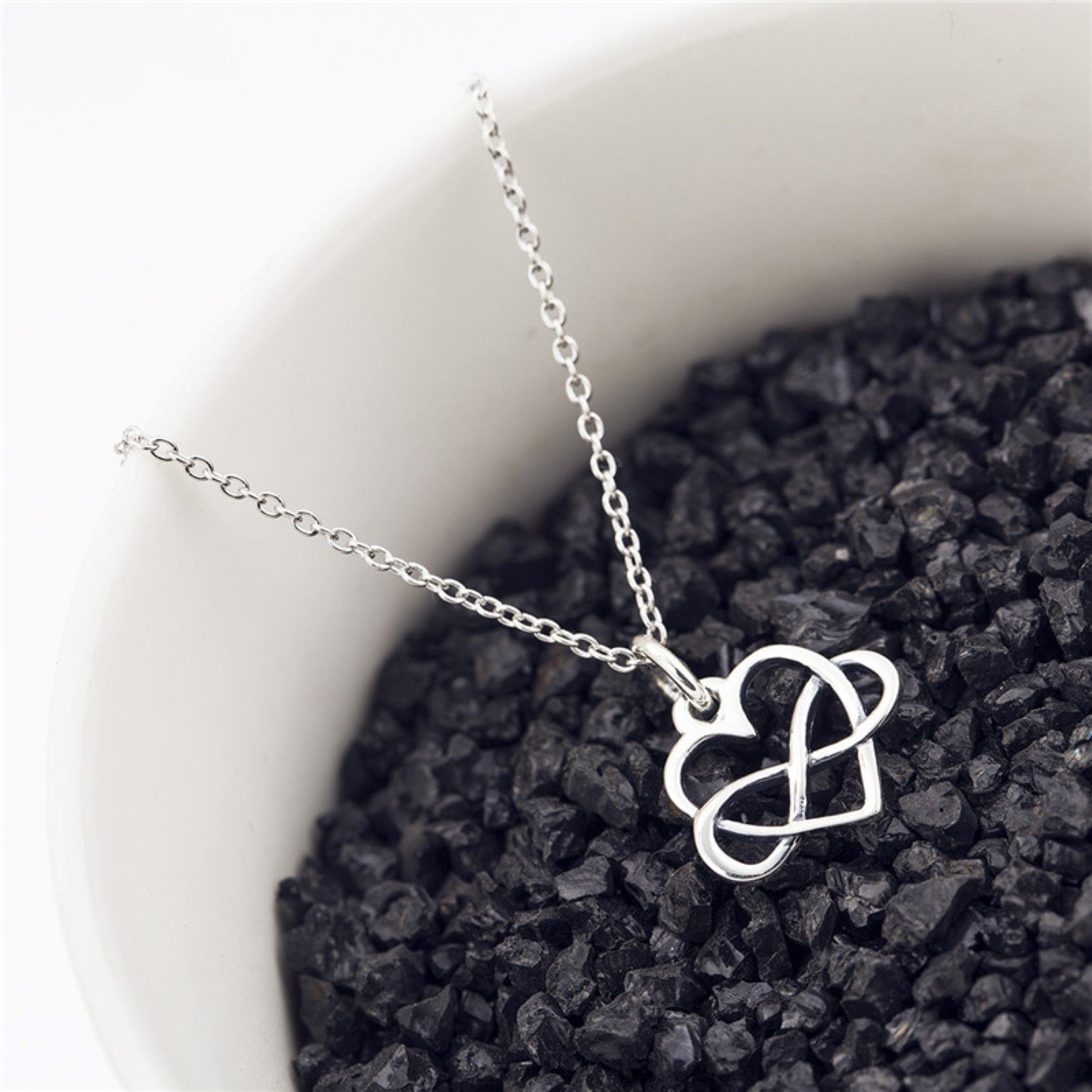 CS-DB Womens Necklaces by Silver Pendant Infinity Heart Charm Girls Valentines Gifts