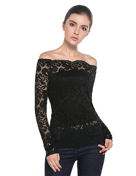 22bf5a95ff MODETREND Mujeres Camisetas Manga Larga Blusas de Encaje Flores Lace  Crochet sin Tirantes Camisas  Amazon.es  Ropa y accesorios
