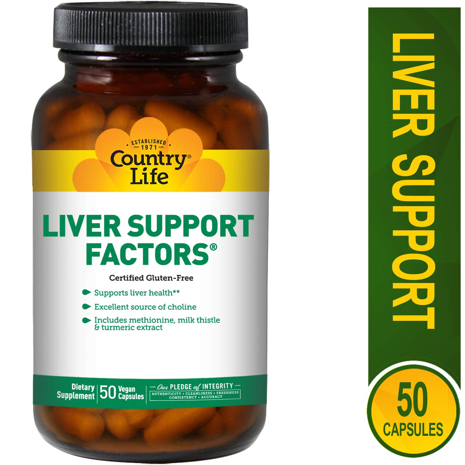 Country Life Liver Support Factors - 100 Vegan Capsules - Liver health - Excellent source of choline - Gluten-free by Country Life