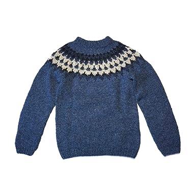 Wollpullover – handgestrickt und leicht – Islandpullover Strickpullover –  blau – Größe S 8fb75b4b3e