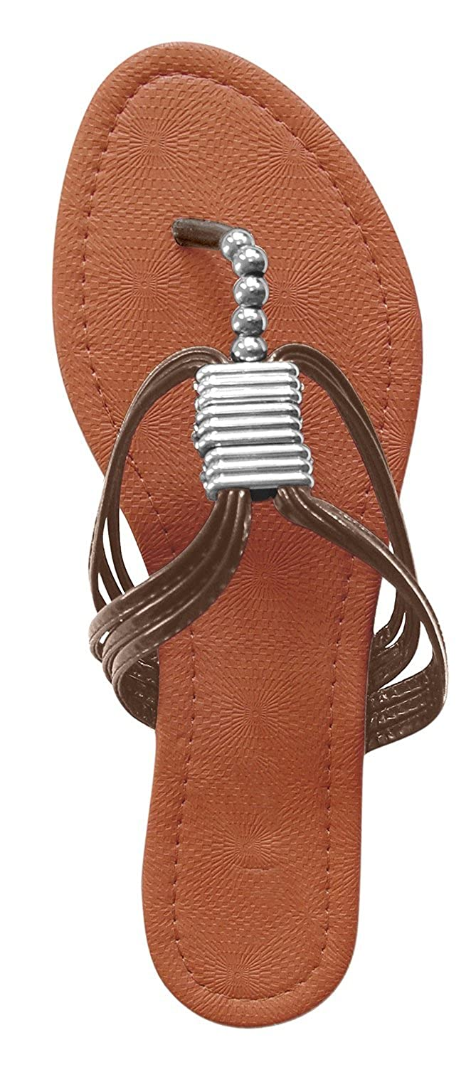 Peach Couture Womens Roman Open Back T-Strap Beaded Strappy Sandal 1 Inch Wedge