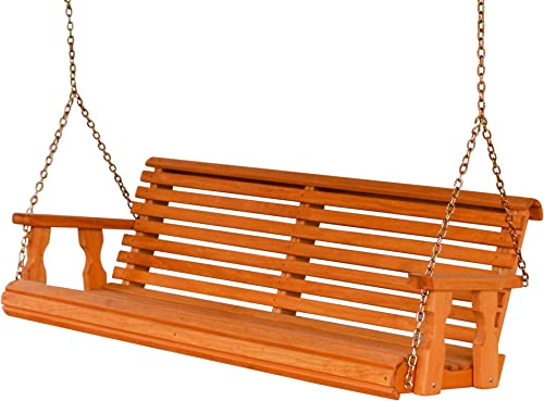 Amish Heavy Duty 800 Lb Roll Back 5ft. Treated Porch Swing – Cedar Stain
