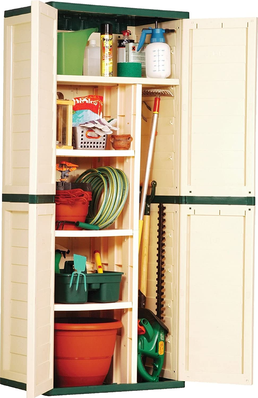 6ft Beige Plastic Garden Storage Utility Shed Cabinet with shelves Kidzmotion 6FTUTIL-BEIGE