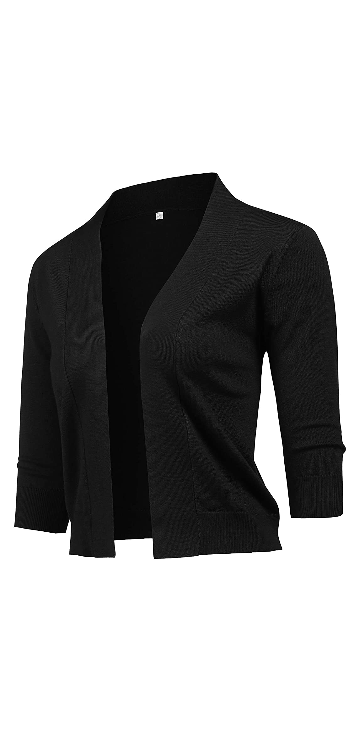 Women's Classic / Sleeve Open Front Cropped Cardigan Knit