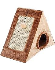 Cueva para Cama de Gato piramidal con Poste de rasguños, Cueva Triangular para Gato,