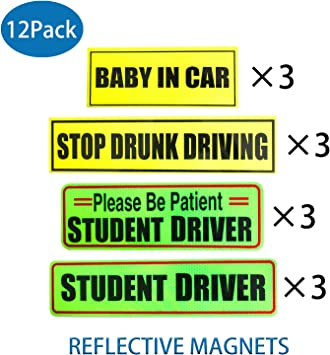 """Reflective STUDENT  DRIVER Magnetic Signs 1.5/"""" x 6/"""" 2"""