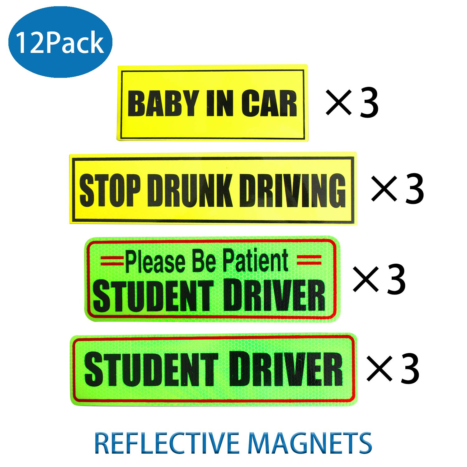 Student driver magnet bumper stickers car signs baby in car safety signs stop drunk driving car sticker reflective magnetic set of 12 for the novice car