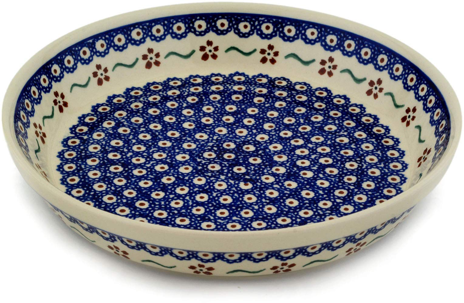 Polish Pottery 9½-inch Pie Dish (Sweet Red Flower Theme) + Certificate of Authenticity