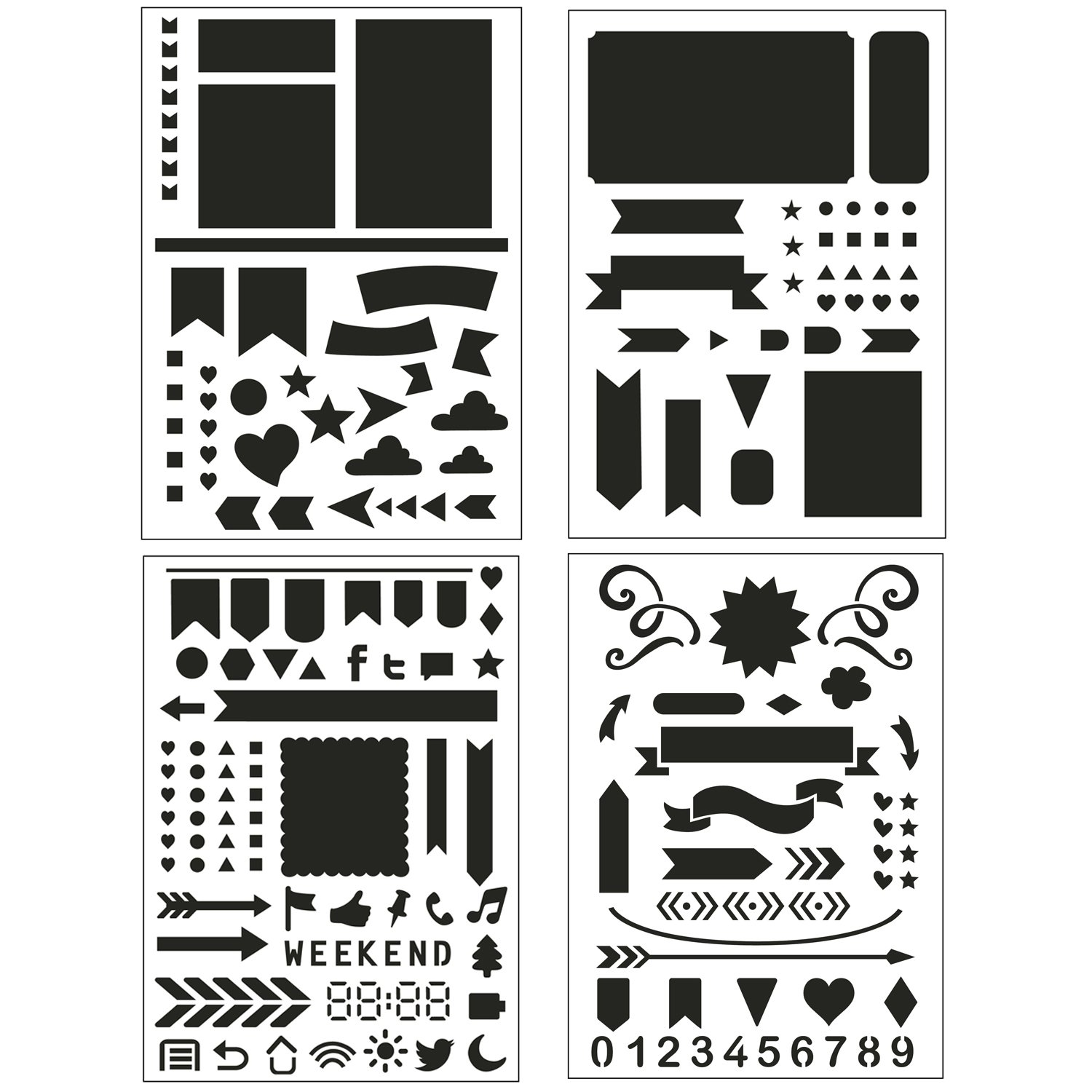 Bullet Journal Stencil Set 4 Pack - Banners, Dividers, Icons Fits Leuchtturm & Moleskine A5 Notebooks, Best Used with Huhuhero Fineliners & Sakura ...