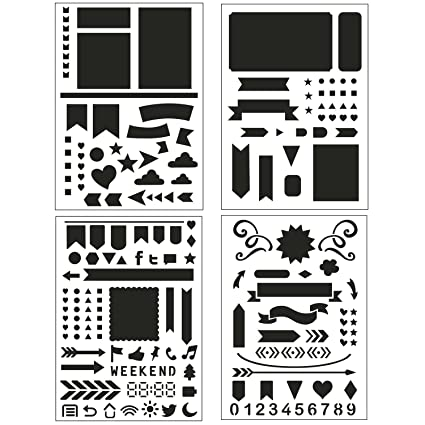 Bullet Journal Stencil Set 4 Pack - Banners, Dividers, Icons Fits  Leuchtturm & Moleskine A5 Notebooks, Best Used with Huhuhero Fineliners &  Sakura