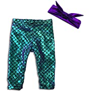 Mermaid Legging & Headband Set (Purple Green Hue Legging w/Headband Set, 3 Months)